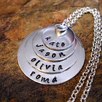 Mother's Day Jewelry, Personalized Jewelry, Mommy Necklace, Personalized Necklace, Hand Stamped Jewelry, 4 Silver Discs