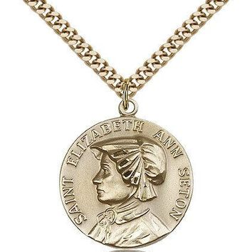 "Saint Ann Medal For Men - Gold Filled Necklace On 24"" Chain - 30 Day Money Ba... 617759786101"