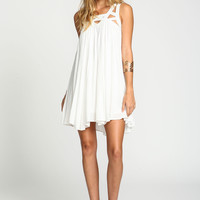 Ivory Strappy Caged Gauze Dress