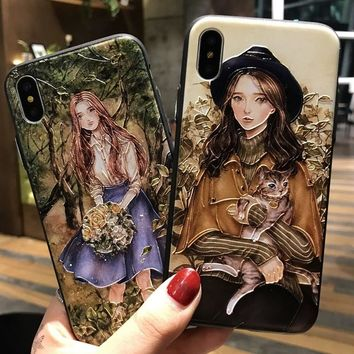 OUJINUO 3D Relief Beauty Girl TPU Phone Cases For iPhone X 6 6s 7 8 Plus Soft Silicone Painted Shell Fashion Back Cover