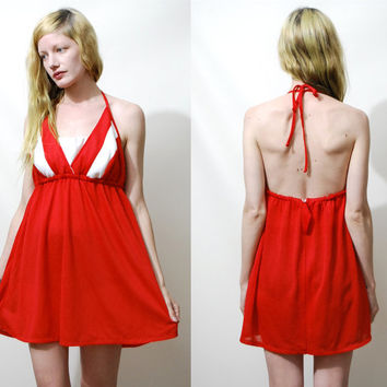 70s Vintage HALTER DRESS Mini Babydoll Mod Red White Top Beach Cover Swimsuit 1970s vtg xl xxl