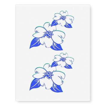 Blue Flower Temporary Tattoos