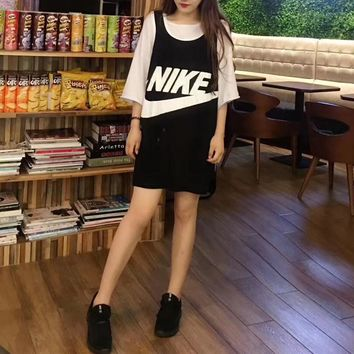 """Nike"" Women Sport Casual Fashion Embroidery Sequin Letter Stripe Sleeveless Vest Dress"