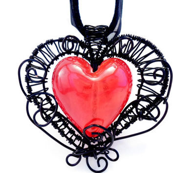 Pendant / Necklace wire wrapped Black with Hearth red glass bead.