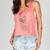 Full Tilt Tribal Half Moon Womens Tank Coral  In Sizes