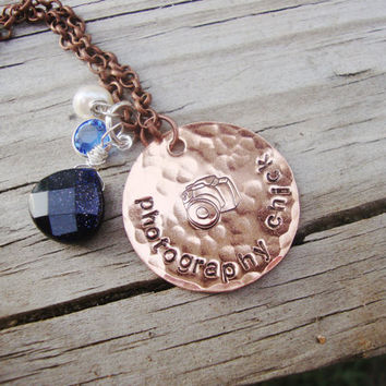 Photography Chick copper handstamped necklace with swarovski crystal and camera stamp