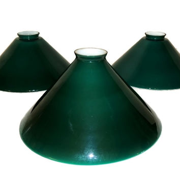 Emeralite Cased Glass Lamp Shades Vintage Set of Three