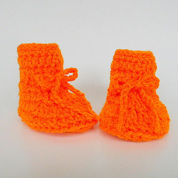 Bright Orange  Baby Booties 6 To 9  Month Old  Infant Girl  Slippers Boy  Crib Shoes