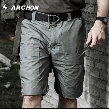 S.ARCHON US Summer Waterproof Military Loose Cotton Shorts Men Casual Tactical Cargo Breathable Shorts Elastic Waist Army Shorts