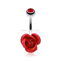 Metal Rose Belly Button Ring (Red)