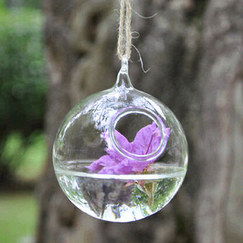 Spherical hanging glass vase