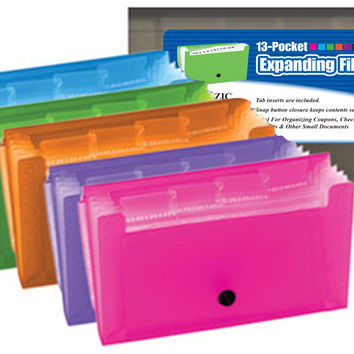 bazic 13-pockets coupon/personal check size expanding file Case of 24