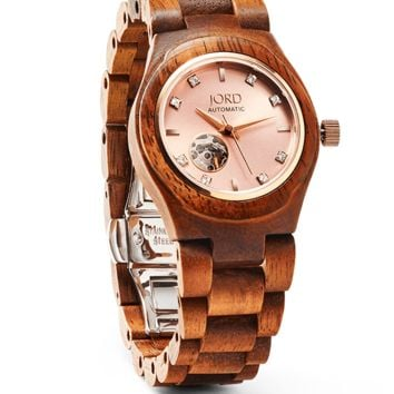 Cora Koa & Rose Gold - Womens Wooden Watch by JORD