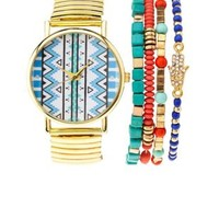 Multi Tribal Watch & Bracelets - 5 Pack by Charlotte Russe
