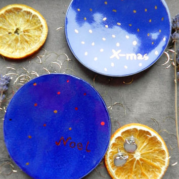 Blue Gold Jewelry Dish Real Gold Christmas Ceramic Trinket Dish Custom Ring Dish Christmas Gift Hand Painted Wedding Favor Candle Holder