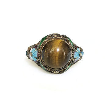 Chinese Export Ring, Silver Filigree, Enamel, Gold Plated, Tigers Eye, China Jewelry, Vintage Ring, Vintage Jewelry