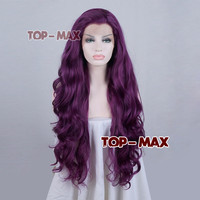 Heat Resistant Curly 2 Length Popular 26/28 Inches Purple Lace Front Wig Hair