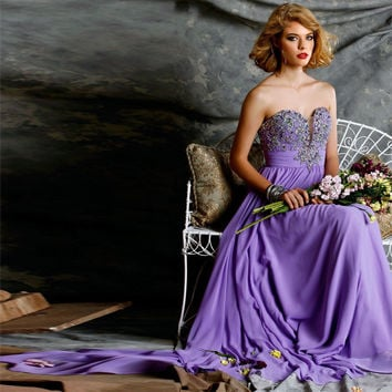 Sweetheart A-Line Prom Dress,Purple Prom Dresses,Long Evening Dress