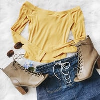 Taren Off Shoulder Ribbed Crop Top (Mustard)