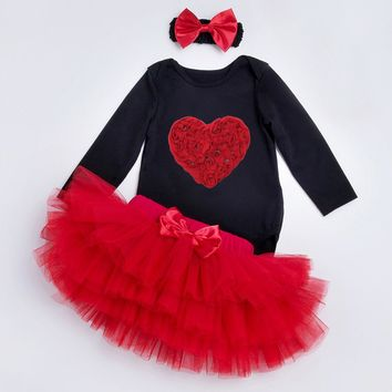 YK&Loving Festival baby Clothing Set Red Heart Black Baby Rompers 4 layer tutu Skirt Dot Headband Cute Girls Valentine's Day
