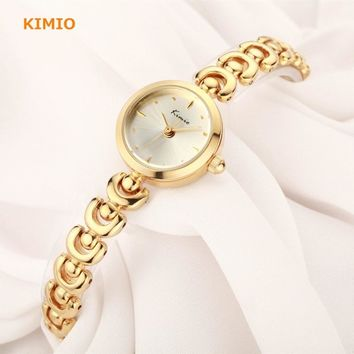 KIMIO Unique U Bracelet Strap Small Round Dial Woman Watches 2017 Brand Luxury Fashion Quartz Gold Whatch Women Wristwatch Clock
