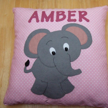 "Handmade Felt Fabric Personalised Baby Elephant Cushion 16"" x 16"" Nursery Decor Baby Gift"