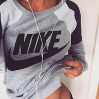 Fashion Spell color Letter Print Round Neck Top Pullover Sweater Sweatshirt  (there is Two-Piece Set)