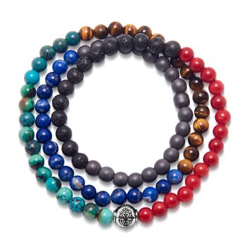 Men's Wrap-Around Bracelet with Bali Turquoise, Brown Tiger Eye, Blue Lapis, Lava Stone, Matte Hematite, and Red Jade