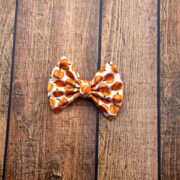 pumpkin hair bow, thanksgiving baby bows, fall baby headbands, fall baby shower gift, halloween baby headbands, baby girl bows, nylon bows