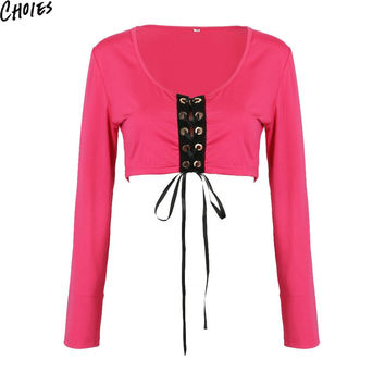 Women Red and Black Lace Up Deep V Neck Long Sleeve Short T-shirt 2016 Casual Sexy Cotton