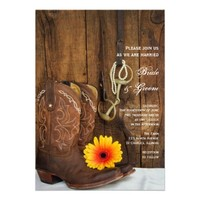 Boots, Daisy and Horse Bit Country Wedding Invite