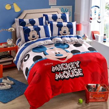 Mickey Mouse Duvet Cover Set Twin Single Size  Kids Birthday Gift Bedding Set for Children Bedroom Decor Bed Linen