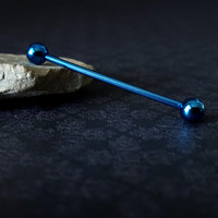 Blue Industrial Barbell (14G)