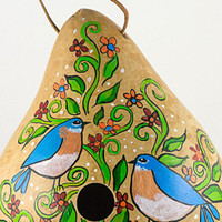 Gourd Birdhouses Painted Gourd Art Garden Art Bird Lovers Gift or Mothers Day Gift