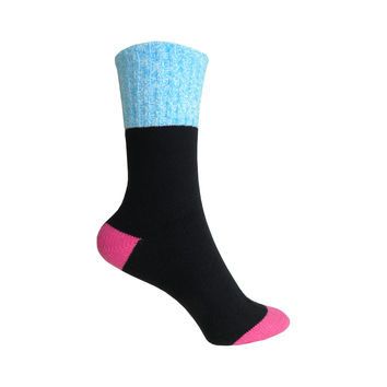 Color Block Marl Cuff Boot Crew Socks in Black