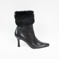 90s Fur Cuffed Boots Anne Klein Shoes Black Leather Boots Vintage Pointy Toe Boots Stiletto Boots Winter Heeled Booties Size 8.5 9