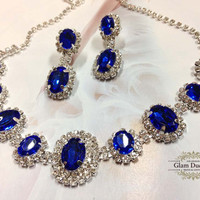 Wedding jewelry, bridesmaid necklace earrings, vintage inspired rhinestone bridal statement, Royal Blue crystal jewelry set