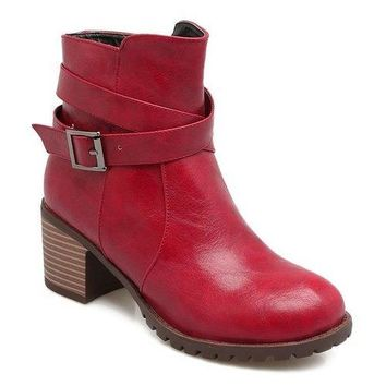 Cross Strap Chunky Heel Ankle Boots - Red 37