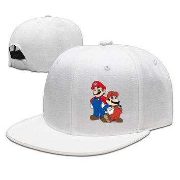 The Super Mario Bros. Super Show Funny Unisex Adult Womens Flat Brim Hats Mens Fitted Hats