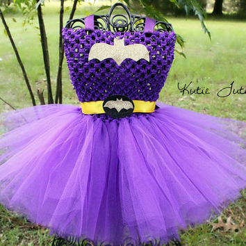 The Batgirl Tutu Dress & Mask Halloween Costume by KutieTuties