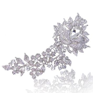 Bella Fashion Clear Flower Teardrop Bridal Brooch Pins Austrian Crystal Brooches For Bridesmaids Women Party Jewelry Gift