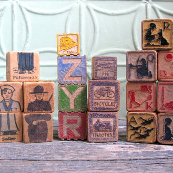 Wooden Toy Blocks, Mixed Lot of Child's Blocks, Alphabet Blocks, Picture Blocks, Vintage Supplies
