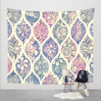 Patterned & Painted Floral Ogee in Vintage Tones Wall Tapestry by Micklyn