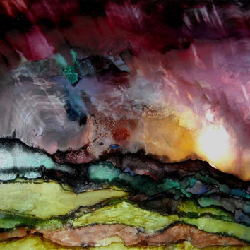 Alcohol Ink Print, Alcohol Ink Artwork, Landscape Art Work, Abstract Painting, Fine Art Print, Abstract Expressionism, Giclee Art Print