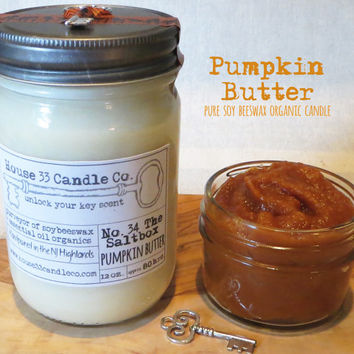 soy wax candle No.30 The Saltbox, PUMPKIN Butter, scented soy beeswax candle with essential oils, natural candle, fall scent, organic, eco