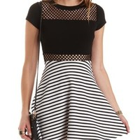 Mesh & Striped Skater Dress by Charlotte Russe