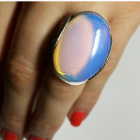 Glowing Ring, Color Changing Opalite in Dark Sterling Silver, Blue and Gold Oval Resin