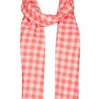 Gingham Check Scarf - Coral
