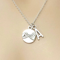 Personalized, Letter, Initial, Pinky, Promise, Silver, Necklace, Customized, Letter, Friendship, Birthday, Best friend, Gift, Jewelry