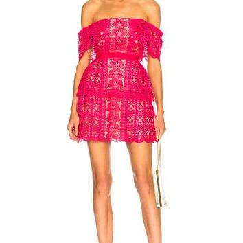 Fuchsia Off Shoulder Floral Guipure Lace Mini Dress
